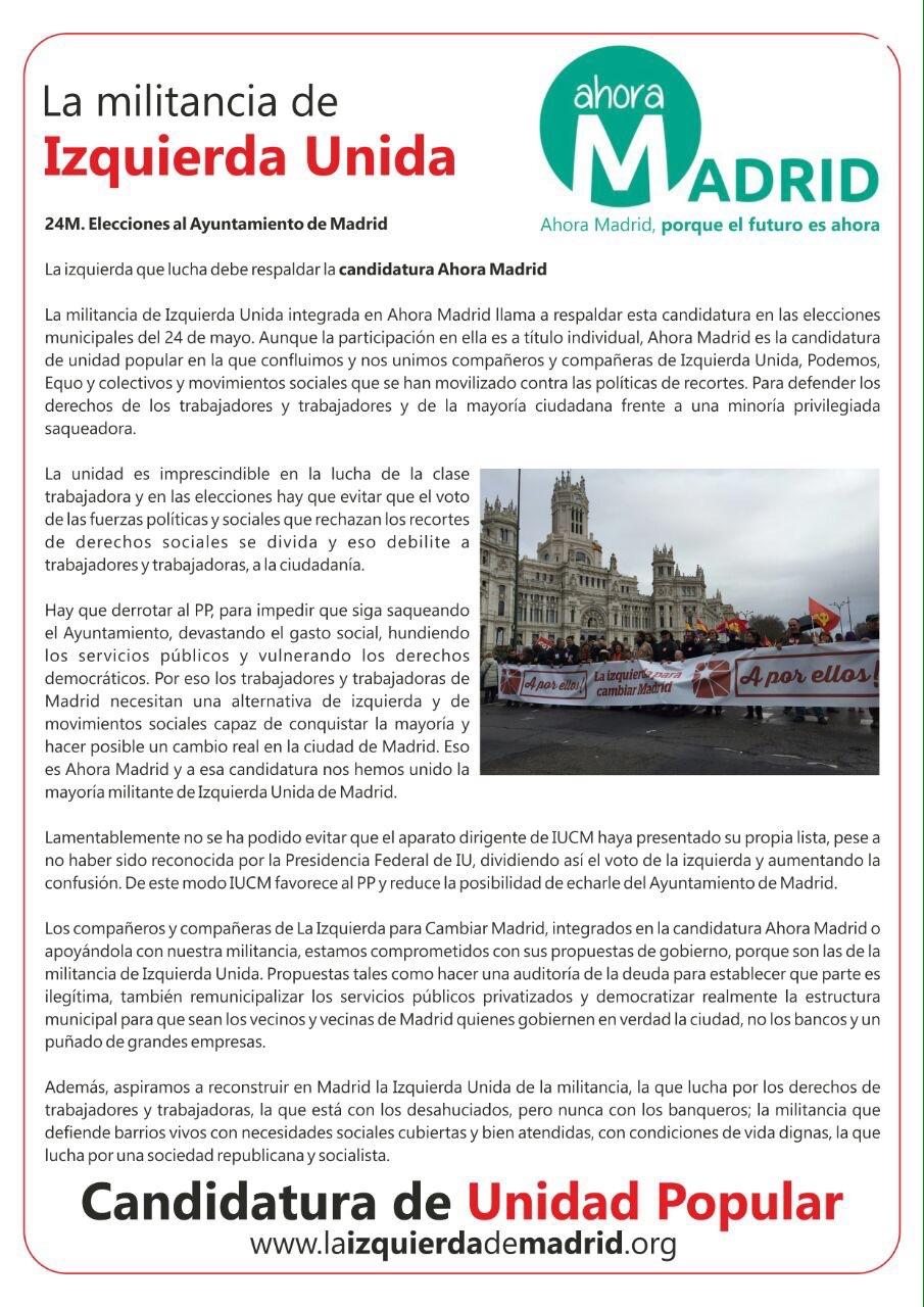 Manifiesto la Izquierda para Cambiar Madrid en Ahora Madrid. La izquierda que lucha debe respaldar la candidatura Ahora Madrid.